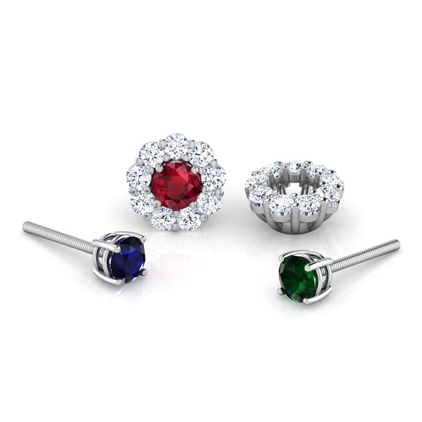 Diamond,Gemstone Earrings 18 Karat White Gold Ovate Multi-Style Gemstone Stud Earrings