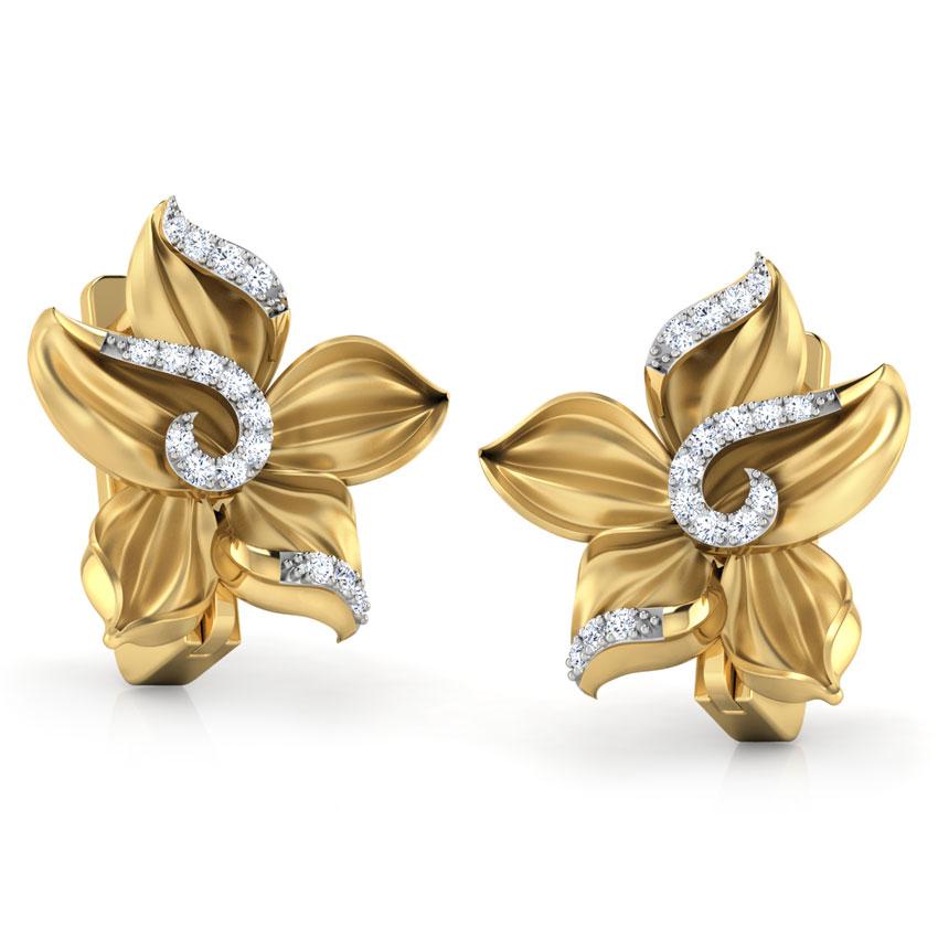Diamond Earrings 18 Karat Yellow Gold Crocus Flower Diamond Stud Earrings