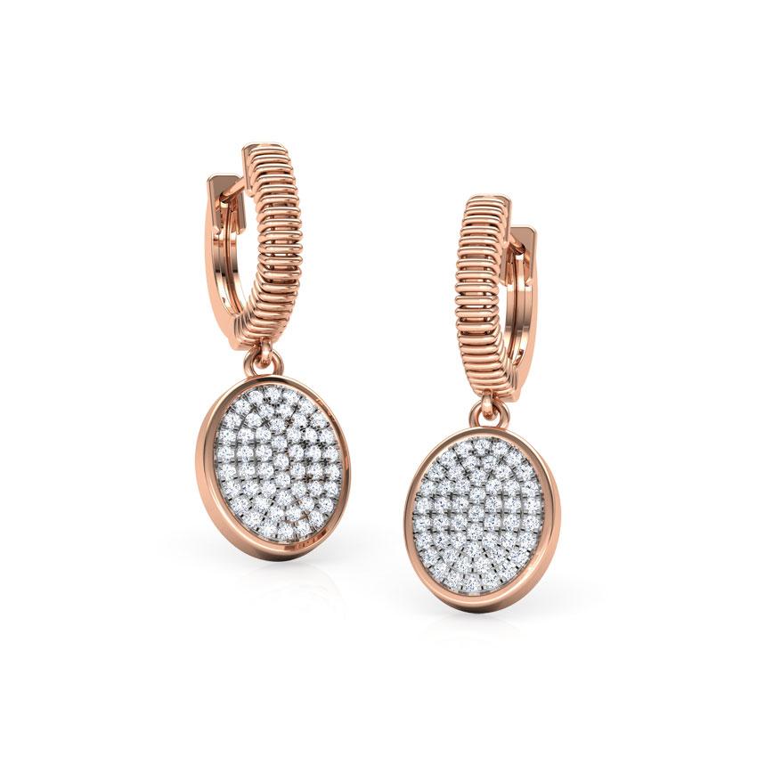Diamond Earrings 14 Karat Rose Gold Ovate Cluster Earrings