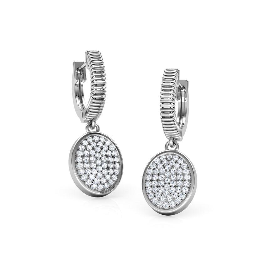 Diamond Earrings 18 Karat White Gold Ovate Cluster Diamond Drop Earrings