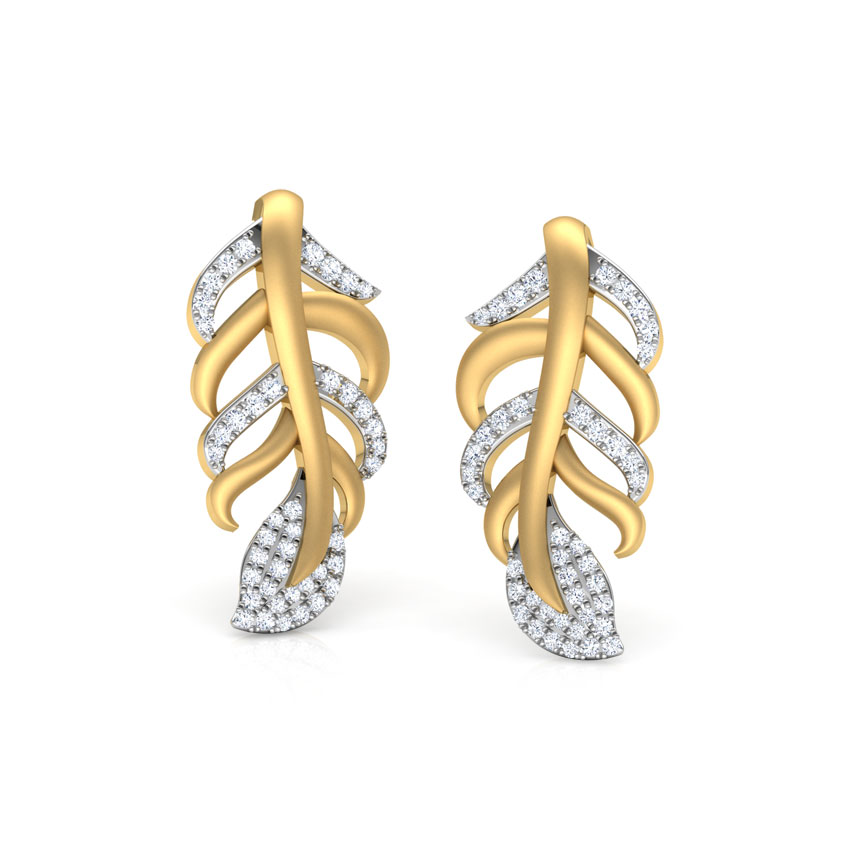 Wispy Leaf Stud Earrings