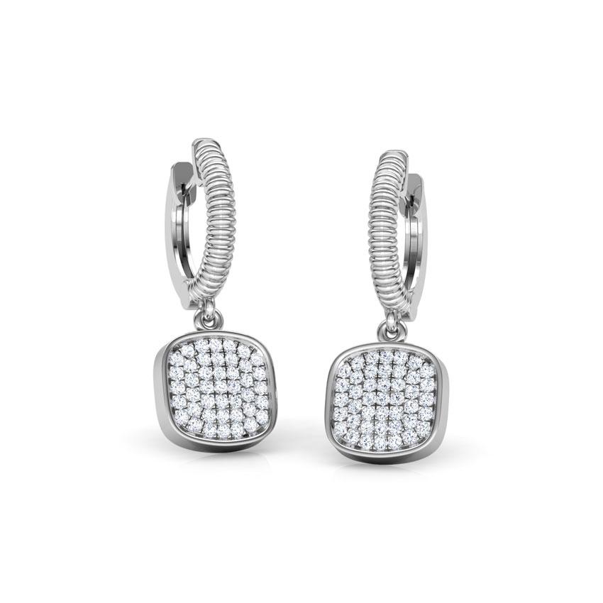 Diamond Earrings 18 Karat White Gold Cube Cluster Diamond Drop Earrings