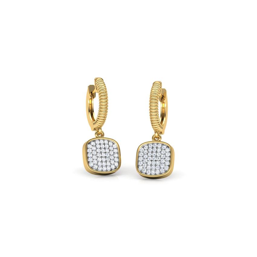 Diamond Earrings 18 Karat Yellow Gold Cube Cluster Drop Earrings