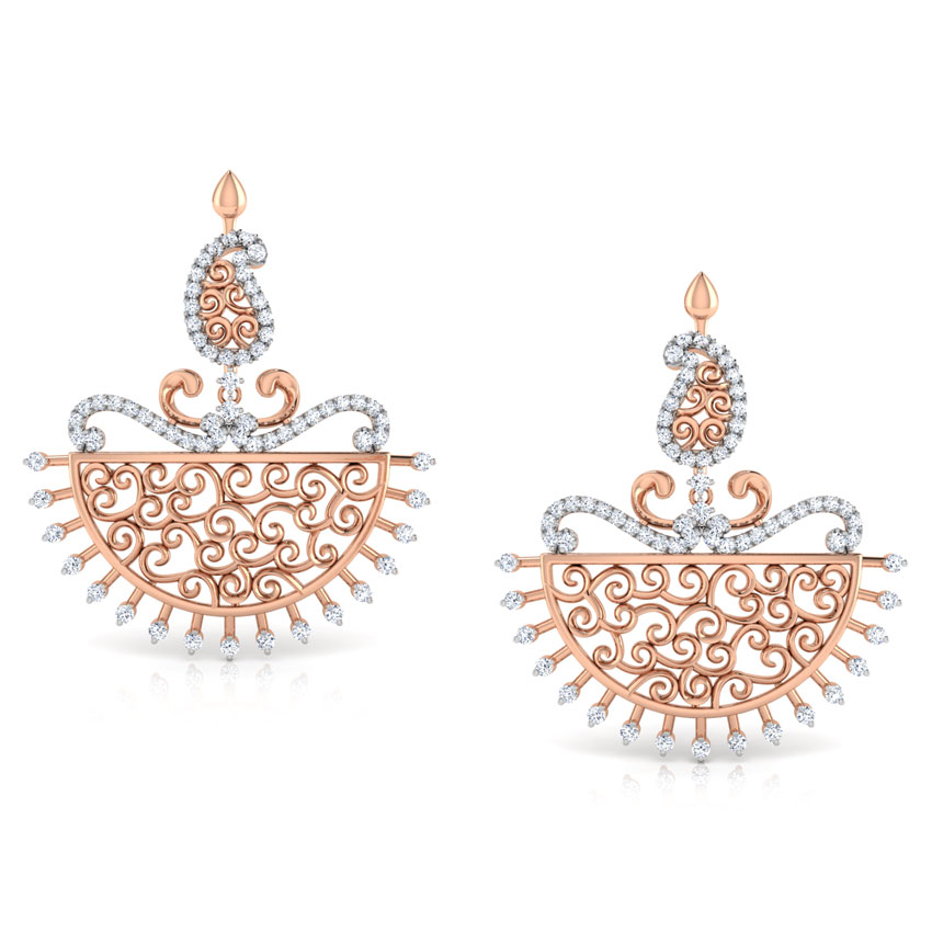 Diamond Earrings 18 Karat Rose Gold Parul Paisley Diamond Chand Bali