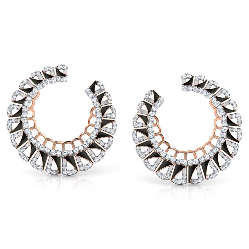 Diamond Earrings 18 Karat Rose Gold Enamel Semicircle Diamond Hoop Earrings