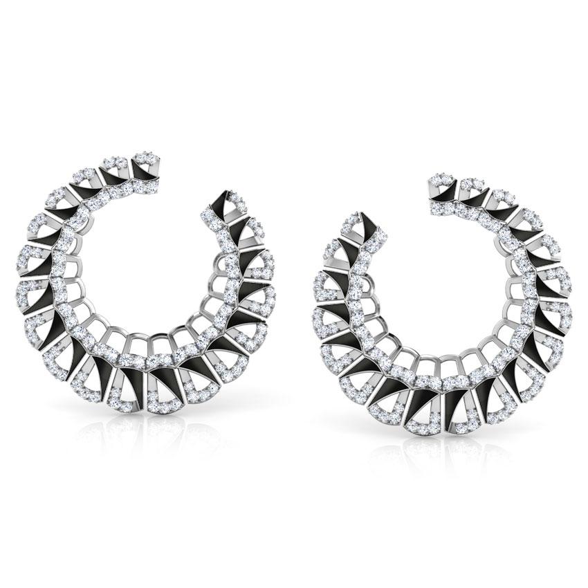 Diamond Earrings 18 Karat White Gold Enamel Semicircle Diamond Hoop Earrings