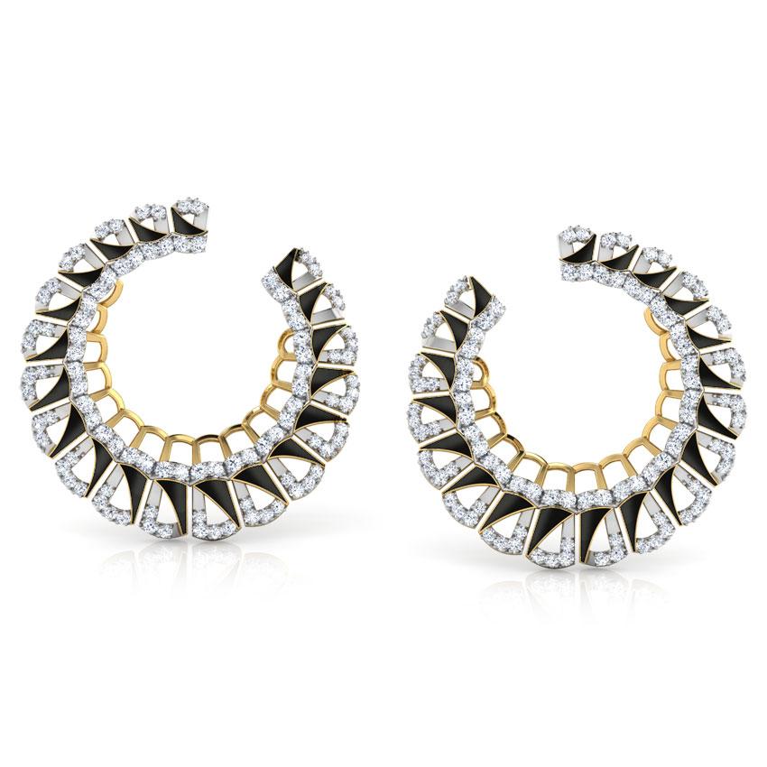 Enamel Semicircle Hoop Earrings