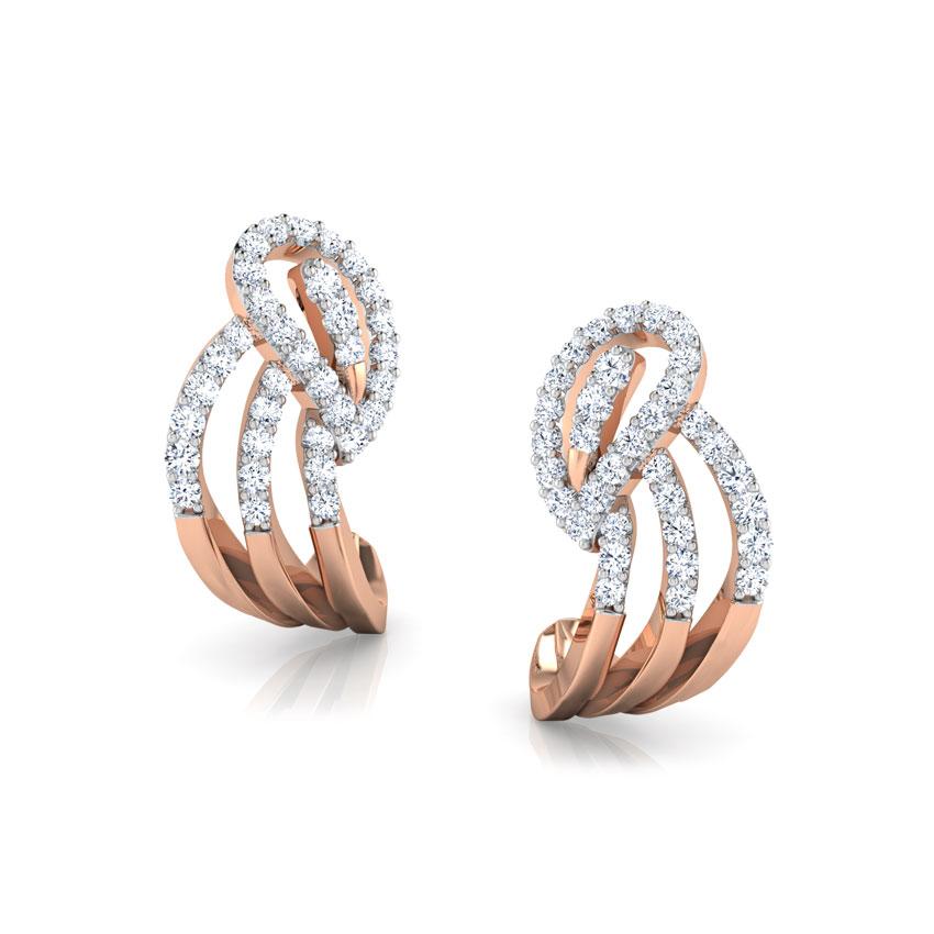 Diamond Earrings 14 Karat Rose Gold Paisley Hug Earrings