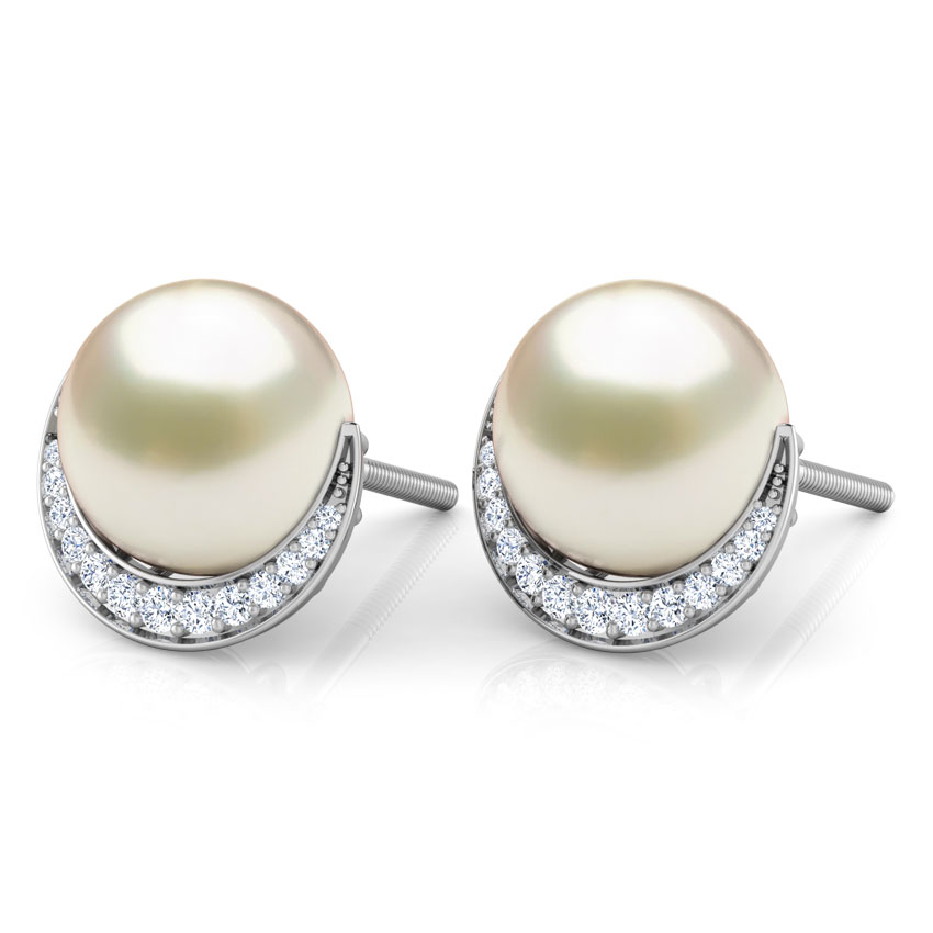 Crescent Pearl Stud Earrings
