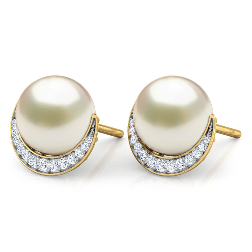 Crescent Pearl Stud Earrings