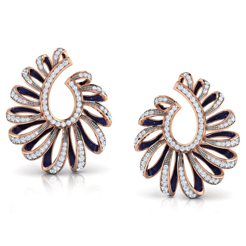 Diamond Earrings 18 Karat Rose Gold Ribbon Peel Diamond Hoop Earrings