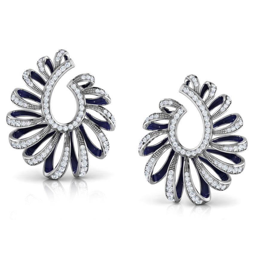 Diamond Earrings 18 Karat White Gold Ribbon Peel Diamond Hoop Earrings