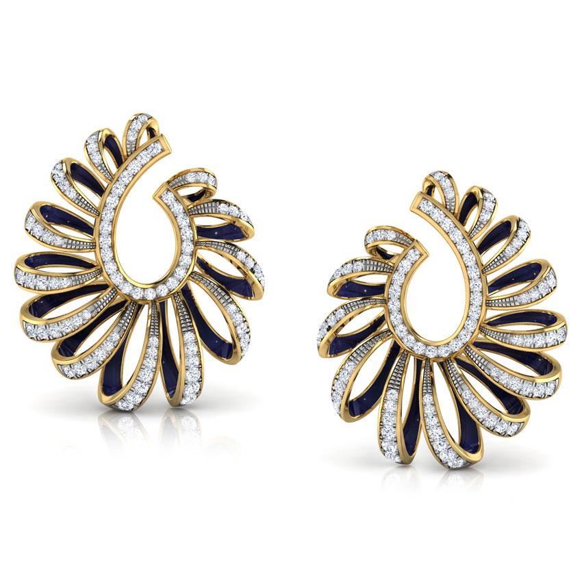 Diamond Earrings 14 Karat Yellow Gold Ribbon Peel Diamond Hoop Earrings