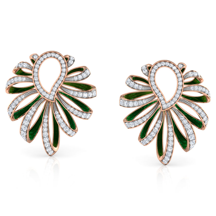 Diamond Earrings 18 Karat Rose Gold Paisley and Ribbon Diamond Hoop Earrings