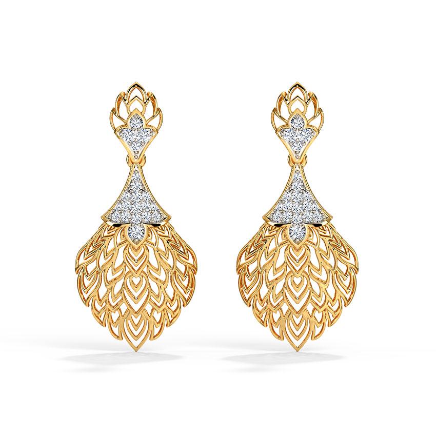 Diamond Earrings 18 Karat Yellow Gold Batino Leaf Drop Earrings