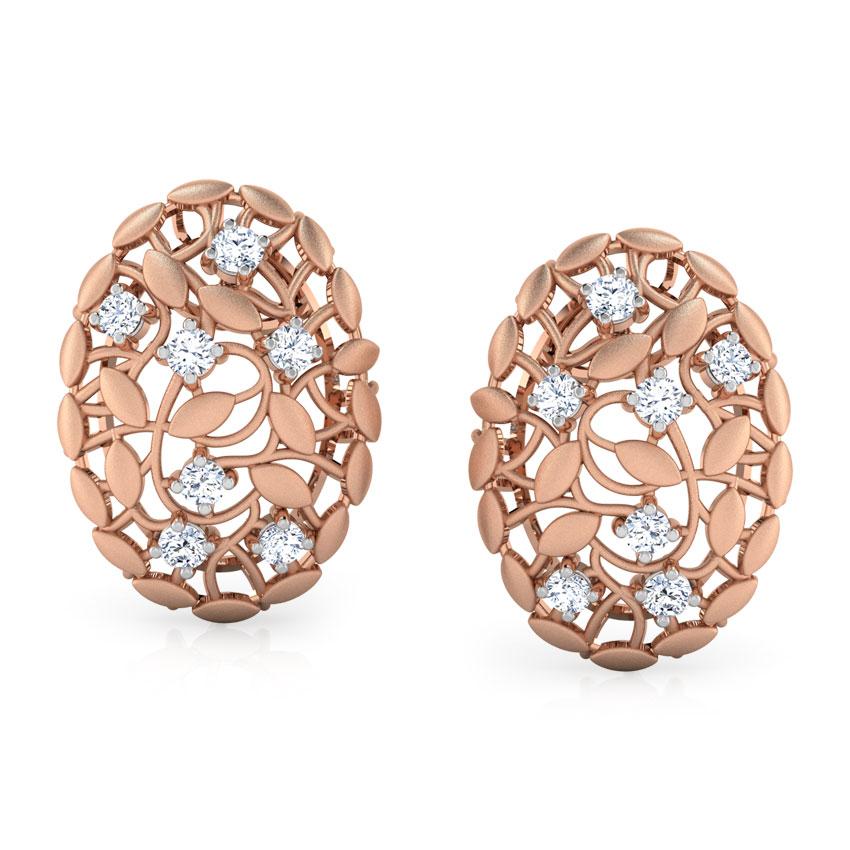 Diamond Earrings 18 Karat Rose Gold Ber Root Diamond Stud Earrings
