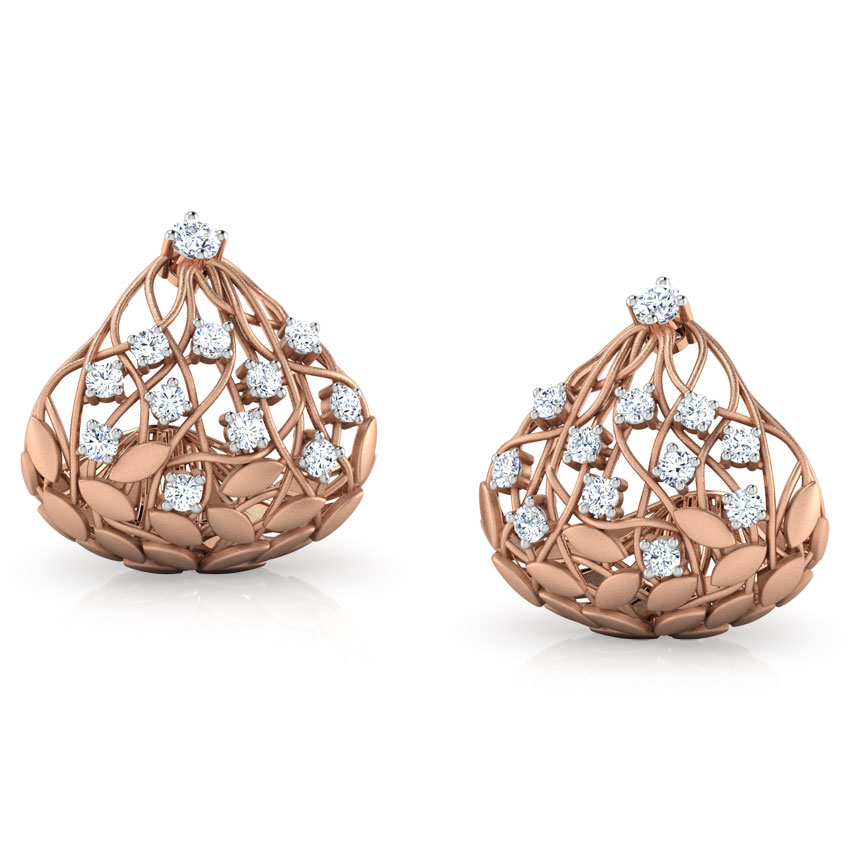 Diamond Earrings 14 Karat Rose Gold Batino Root Diamond Hoop Earrings