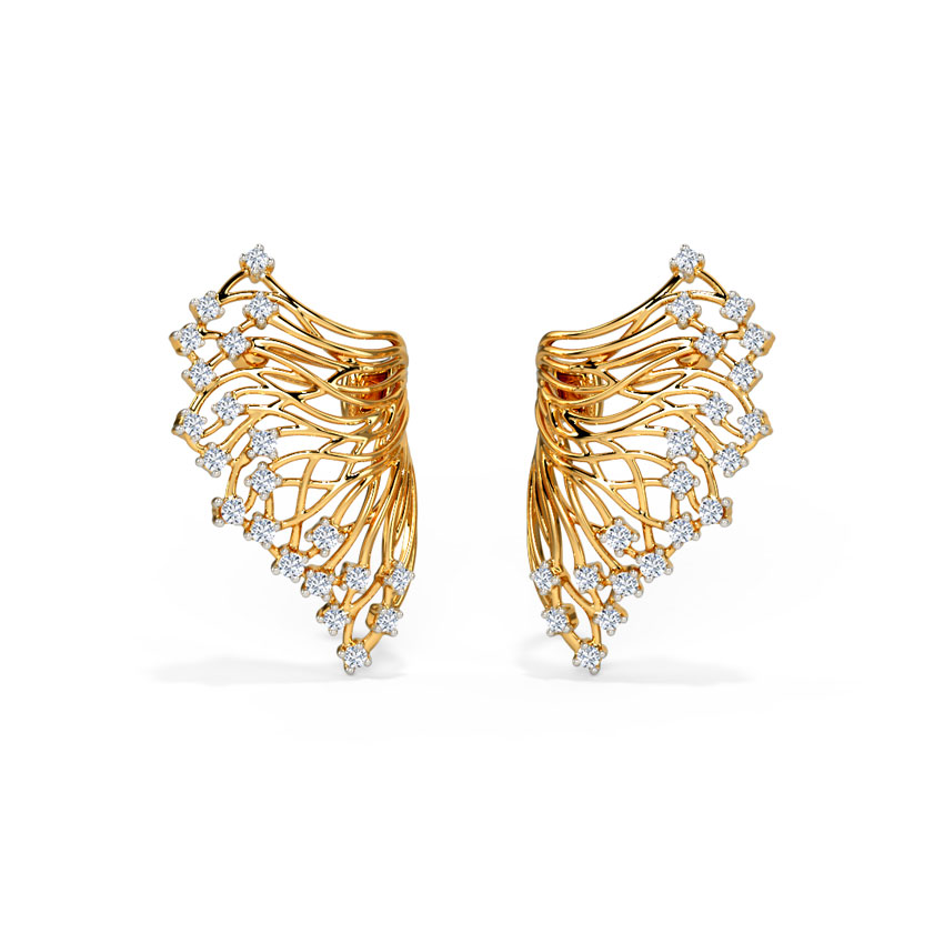 Diamond Earrings 18 Karat Yellow Gold Alder Root Diamond Stud Earrings