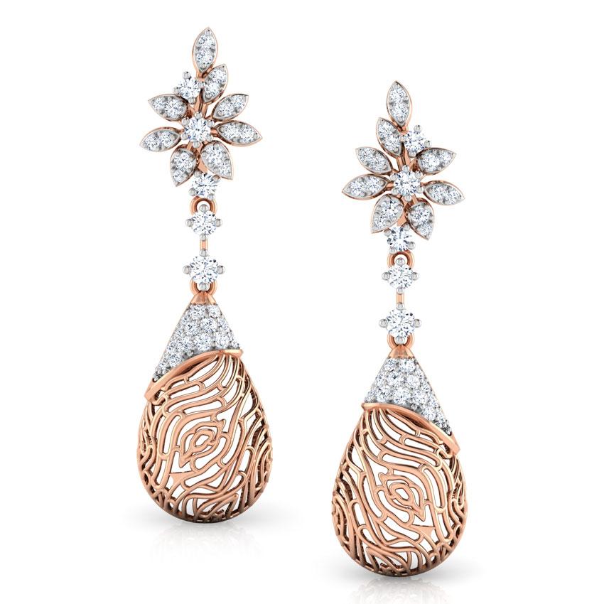 Diamond Earrings 14 Karat Rose Gold Alder Wood Grain Diamond Drop Earrings