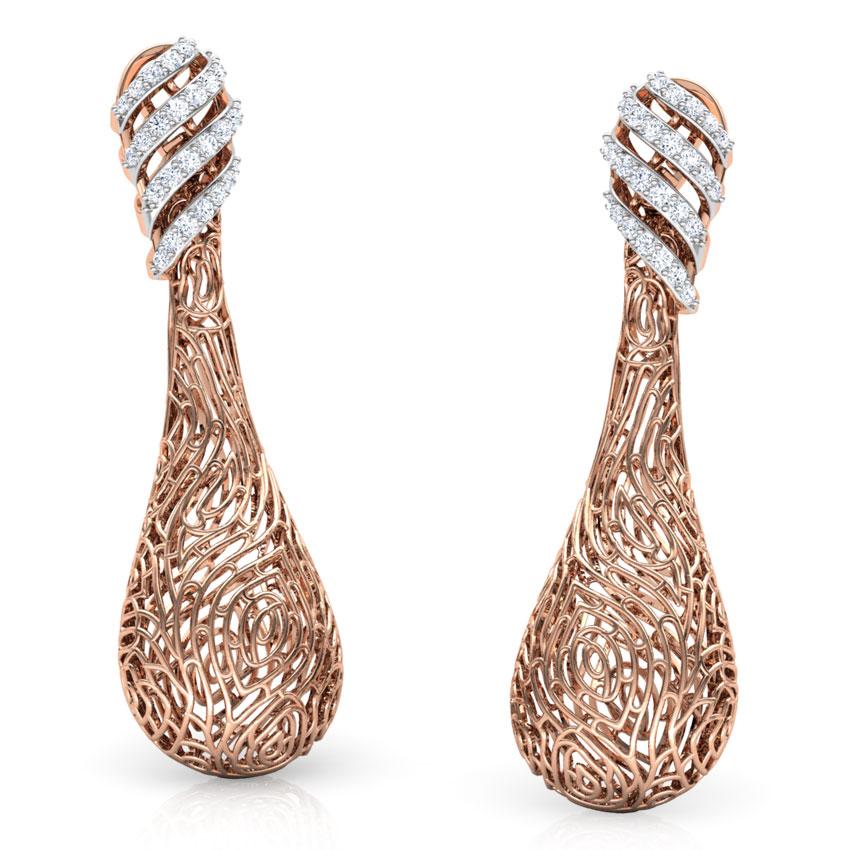 Diamond Earrings 14 Karat Rose Gold Lupine Wood Grain Diamond  Drop Earrings