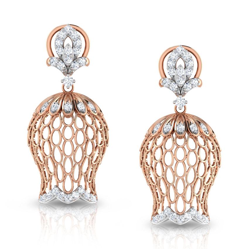 Diamond Earrings 18 Karat Rose Gold Intricate Tulip Diamond Jhumkas