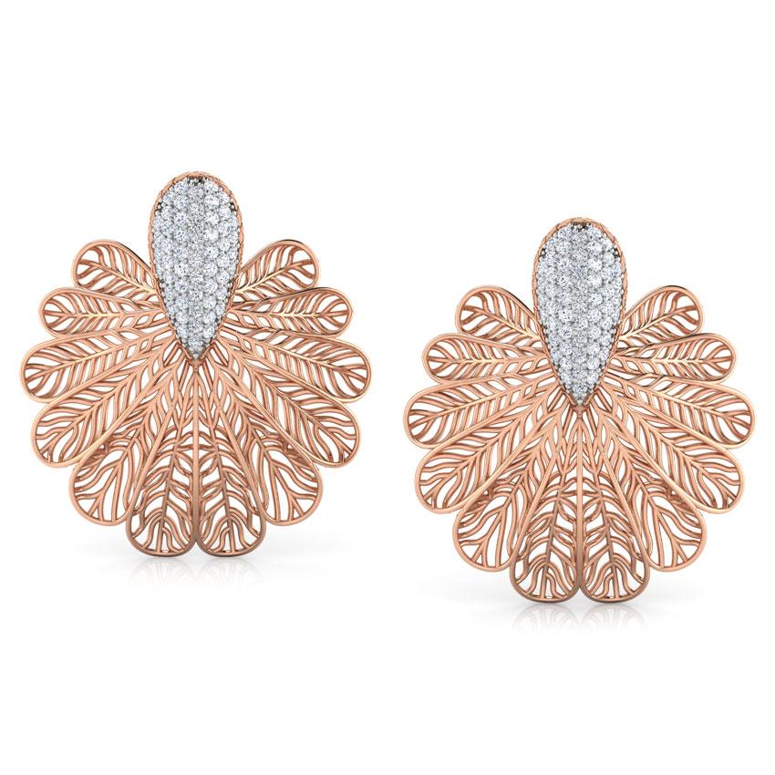 Diamond Earrings 14 Karat Rose Gold Lupine Leaf Diamond Stud Earrings