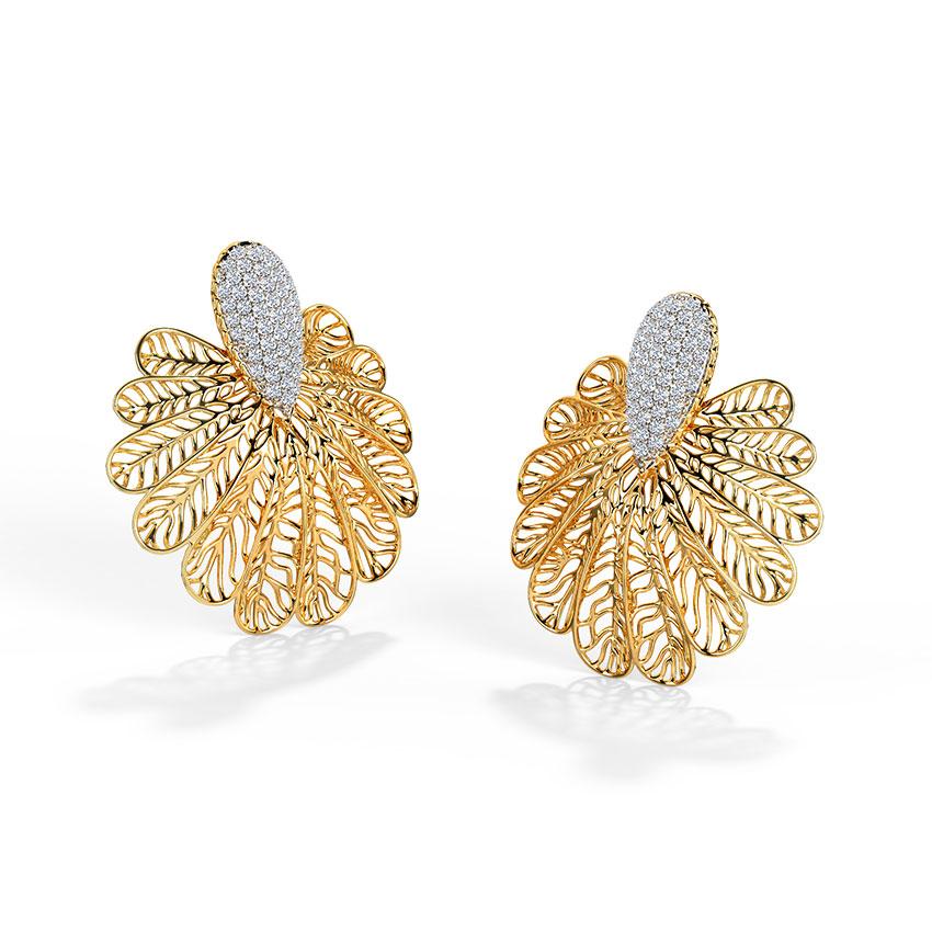 Lupine Leaf Stud Earrings