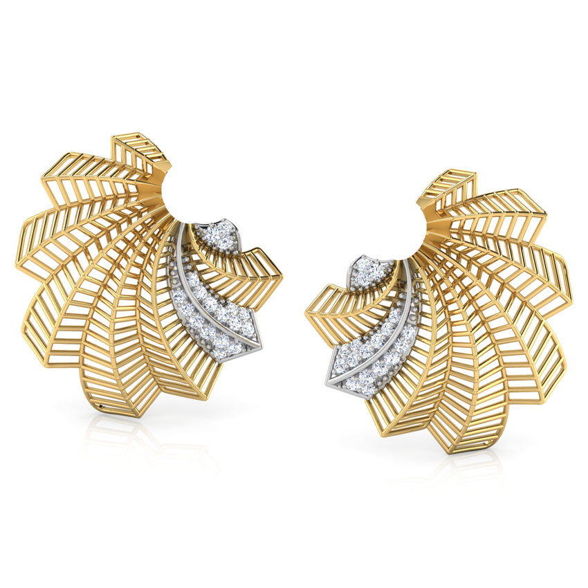 Diamond Earrings 18 Karat Yellow Gold Tropical Palm Leaf Diamond Stud Earrings