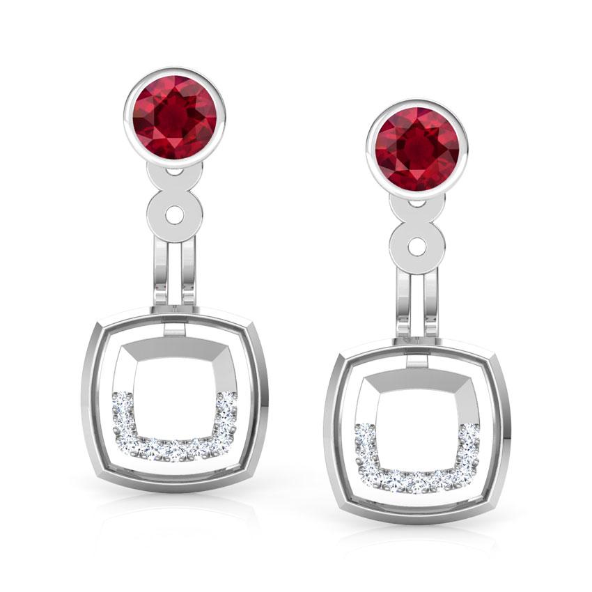 Diamond,Gemstone Earrings 18 Karat White Gold Square Connect Gemstone Ear Jackets