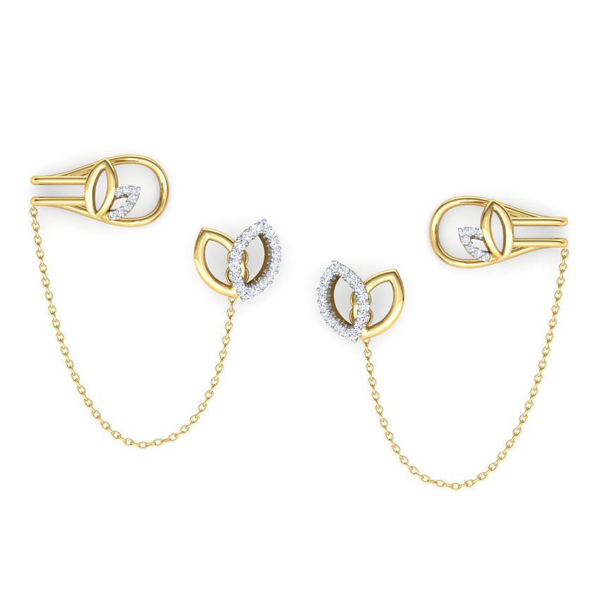 Diamond Earrings 14 Karat Yellow Gold Petals Chain Diamond Ear Cuffs