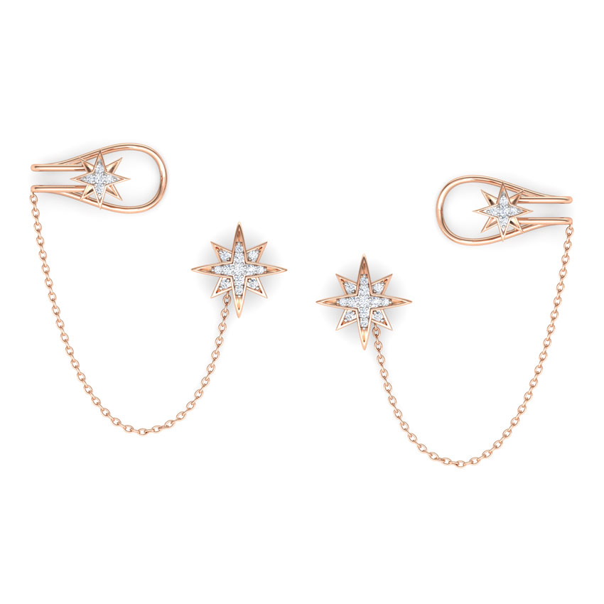 Diamond Earrings 18 Karat Rose Gold Star Chain Diamond Ear Cuffs