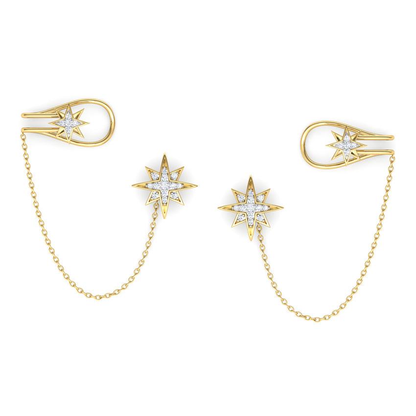 Diamond Earrings 14 Karat Yellow Gold Star Chain Diamond Ear Cuffs