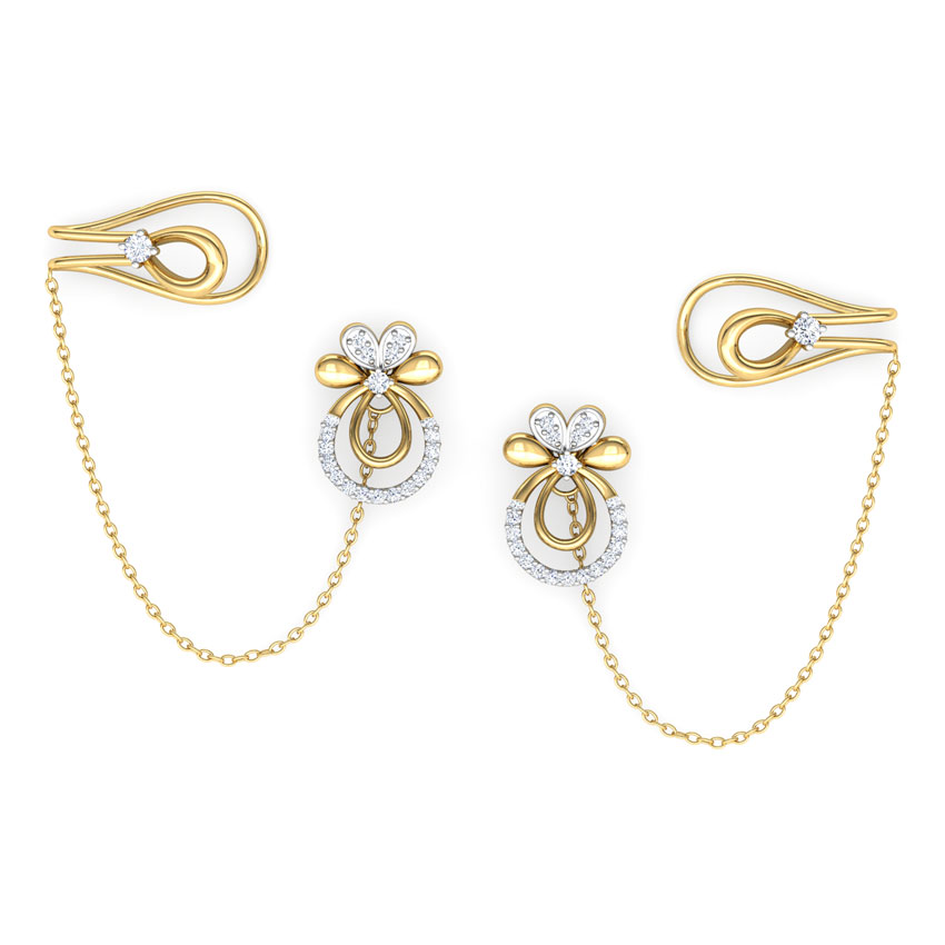 Bloom Stud Earrings with Chain Clips