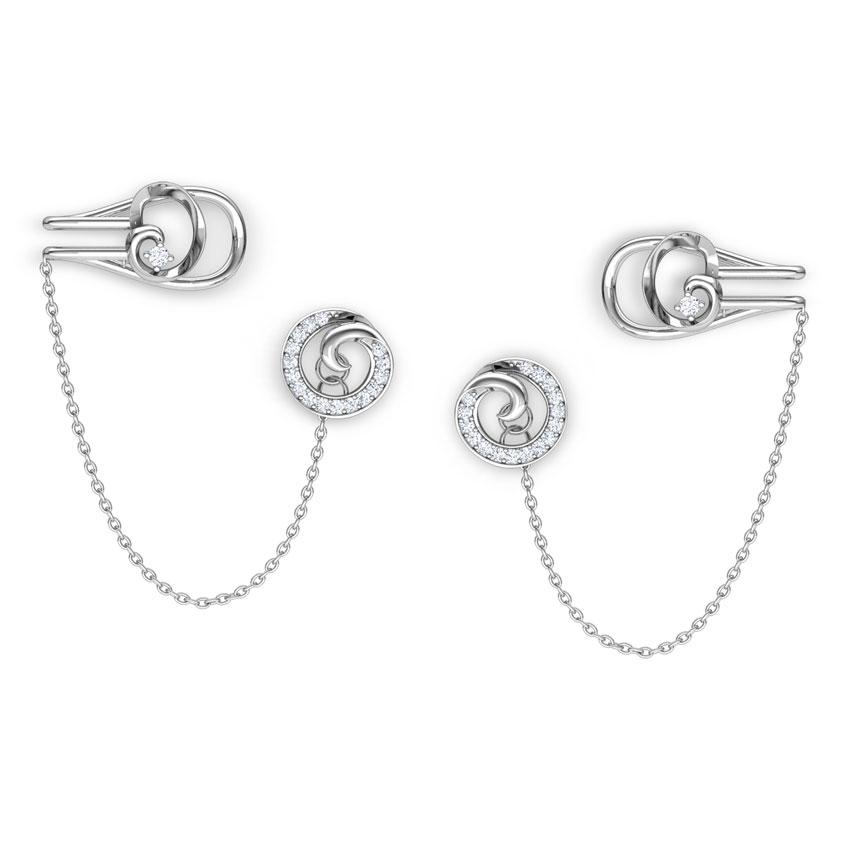 Diamond Earrings 18 Karat White Gold Swirly Chain Diamond Ear Cuffs