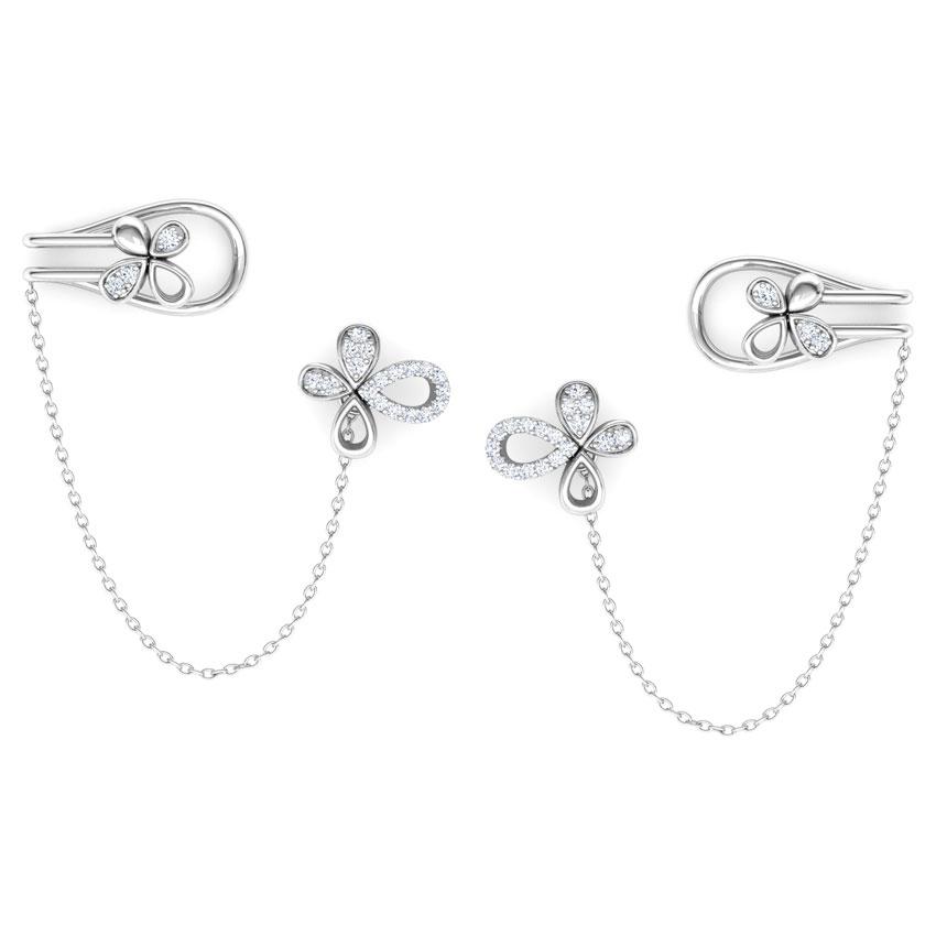 Diamond Earrings 14 Karat White Gold Floret Chain Diamond Ear Cuffs