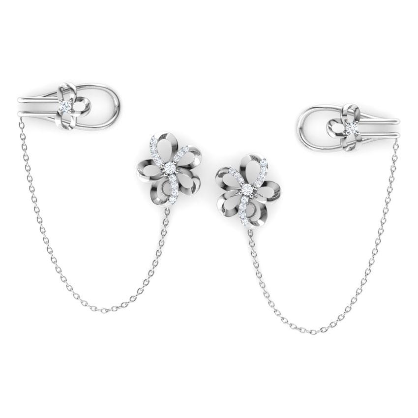 Diamond Earrings 18 Karat White Gold Blossom Chain Diamond Ear Cuffs