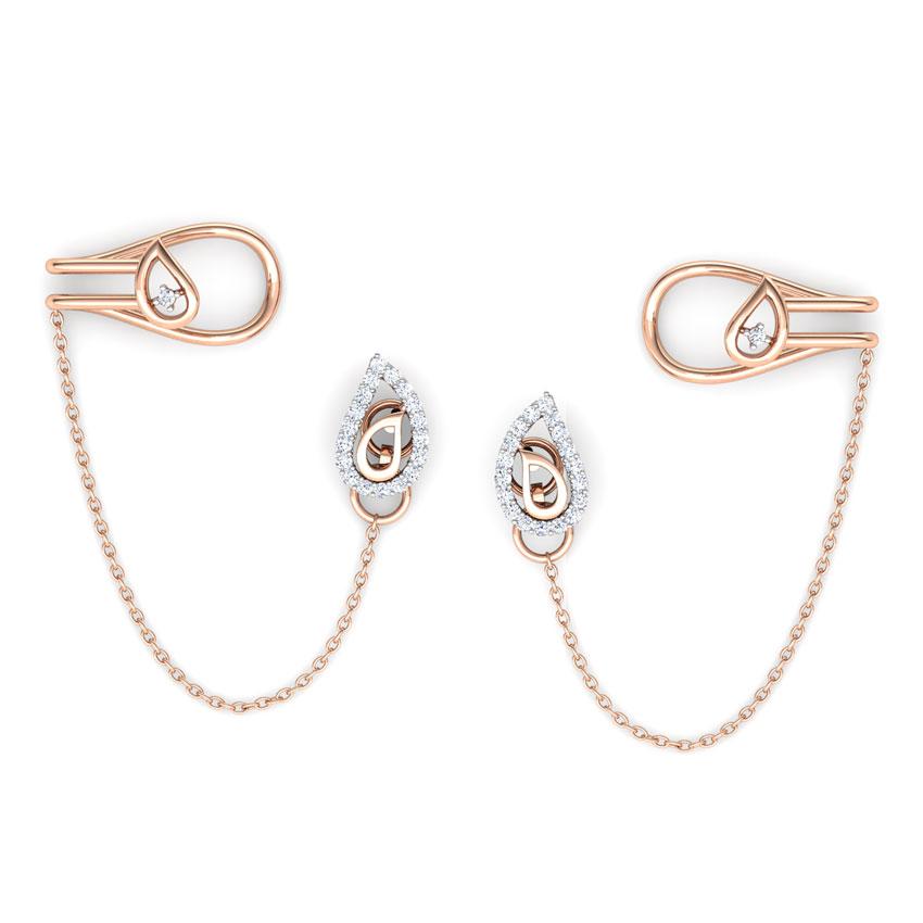 Diamond Earrings 18 Karat Rose Gold Paisley Chain Diamond Ear Cuffs
