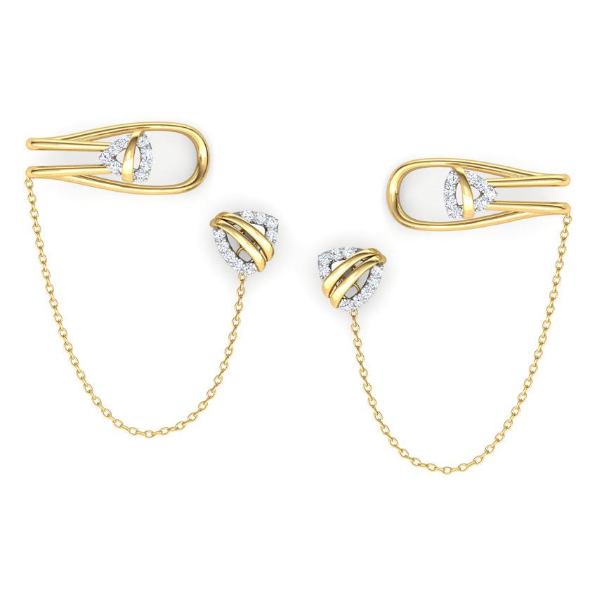 Diamond Earrings 14 Karat Yellow Gold Trigon Chain Diamond Ear Cuffs