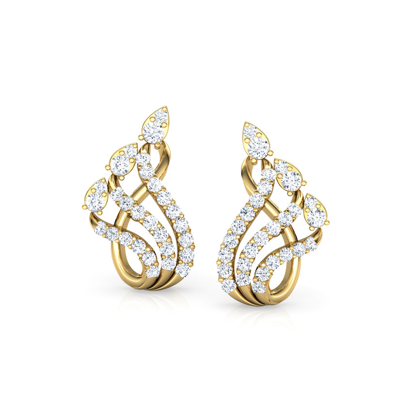 Diamond Earrings 18 Karat Rose Gold Swish Pear Diamond Stud Earrings