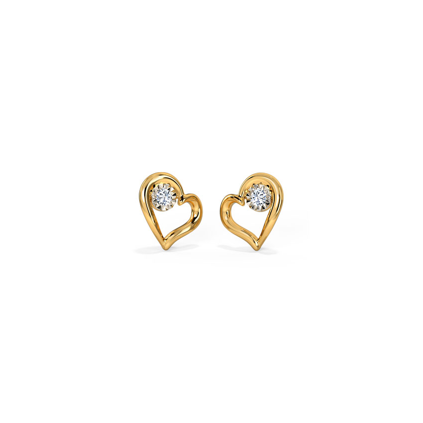Diamond Earrings 18 Karat Yellow Gold In Love Miracle Plate Diamond Stud Earrings