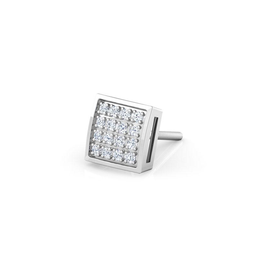 Diamond Earrings 18 Karat White Gold Darry Diamond Ear Stud for Men
