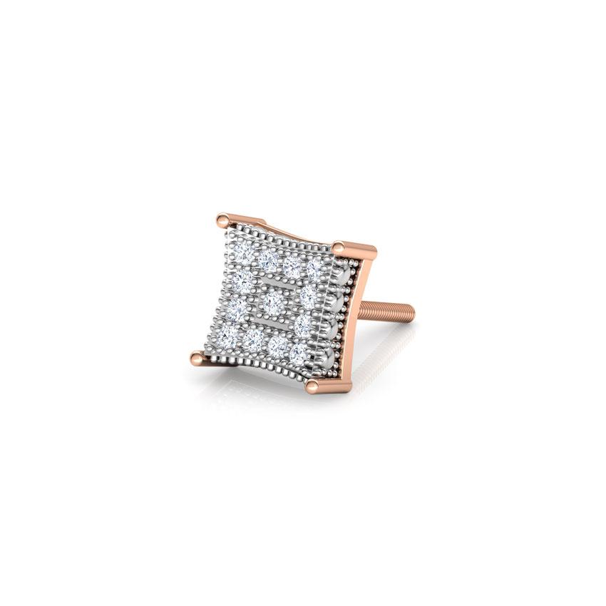 Diamond Earrings 14 Karat Rose Gold Drake Diamond Ear Stud for Men
