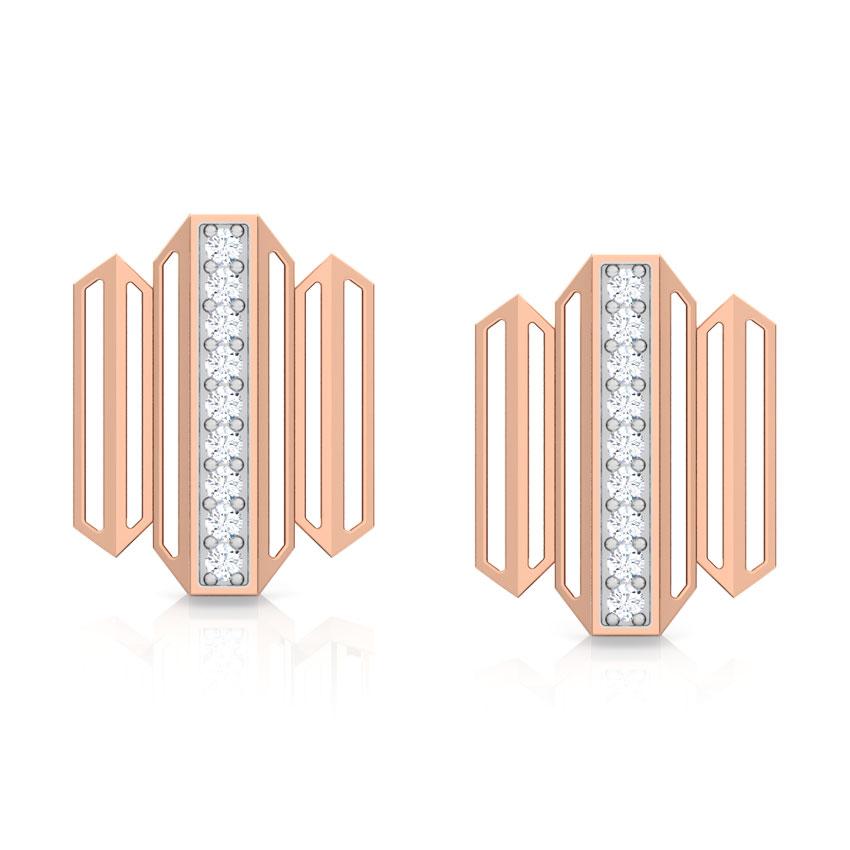 Diamond Earrings 18 Karat Rose Gold Eros Zigzag Diamond Stud Earrings