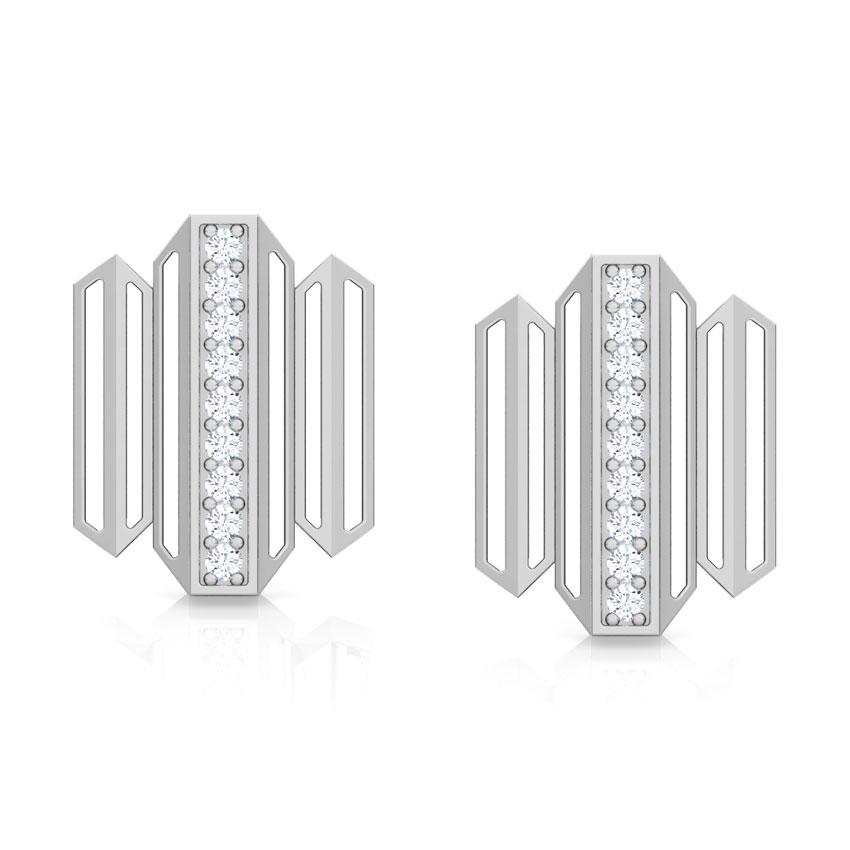 Diamond Earrings 14 Karat White Gold Eros Zigzag Diamond Stud Earrings