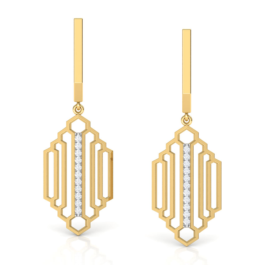 Diamond Earrings 18 Karat Yellow Gold Regal Stepped Diamond Drop Earrings