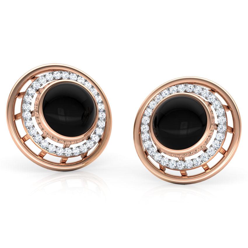 Diamond,Gemstone Earrings 14 Karat Rose Gold Eros Minaret Gemstone Stud Earrings