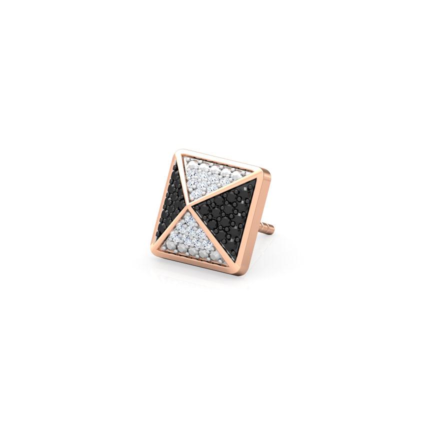 Diamond,Gemstone Earrings 14 Karat Rose Gold Nathan Gemstone Ear Stud for Men