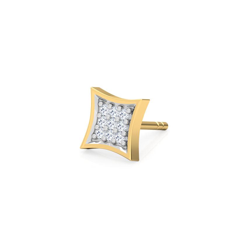 Diamond Earrings 18 Karat Yellow Gold Mason Diamond Ear Stud for Men