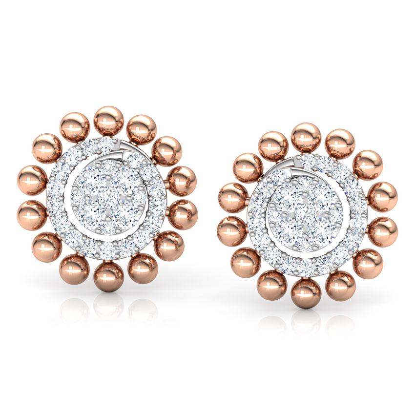 Diamond Earrings 18 Karat Rose Gold Halo Beads Diamond Stud Earrings