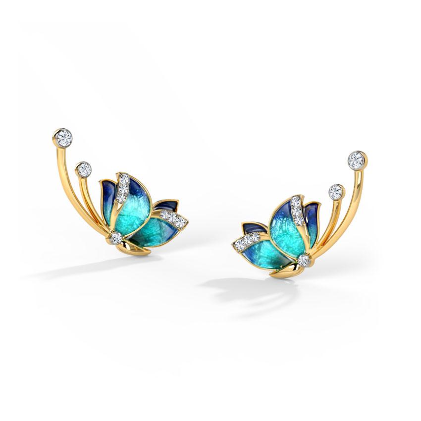 Diamond Earrings 18 Karat Yellow Gold Flitter Blue Butterfly Diamond Ear Cuffs